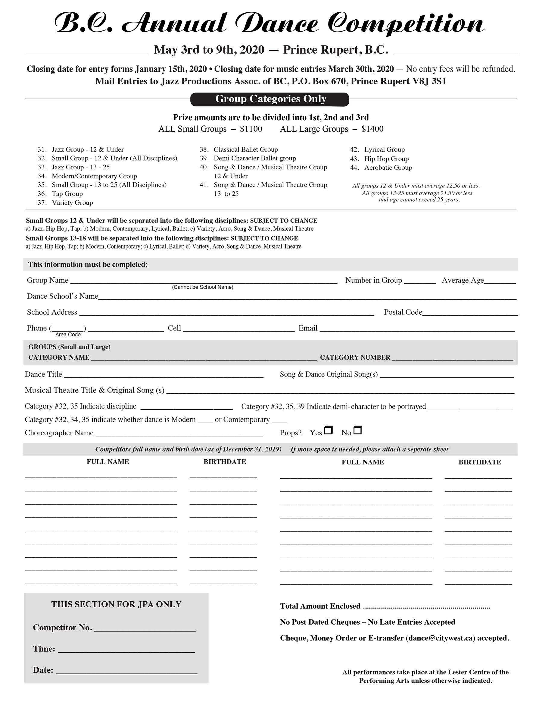 BCADC Group Entry Form